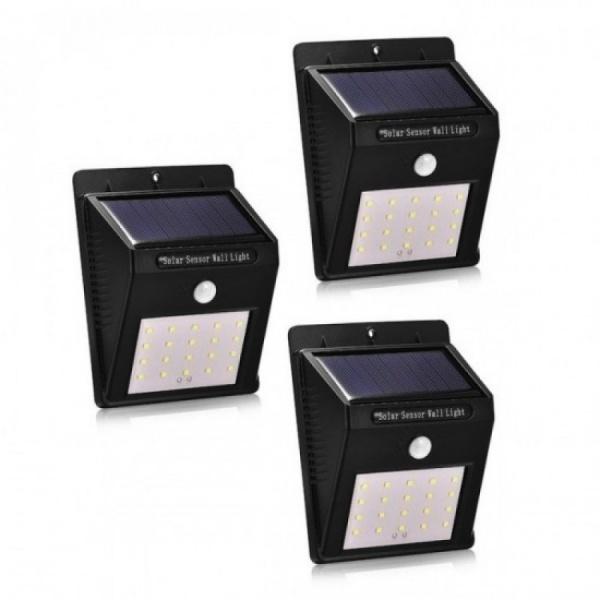 Set 3 x lampa cu 20 LED - incarcare solara si senzor de miscare