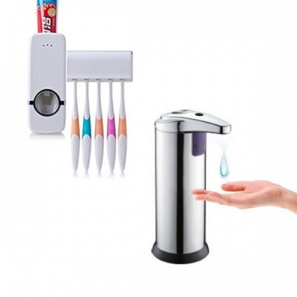 Dozator metalic de sapun cu senzor + Dozator pasta de dinti + suport 5 periute
