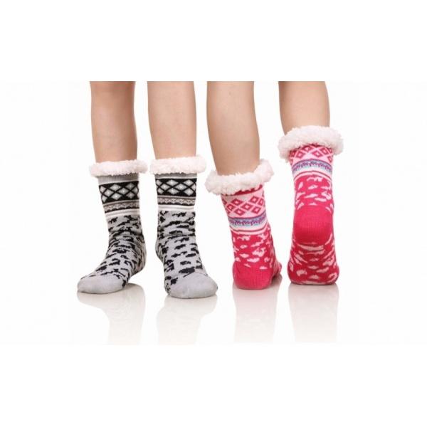 Set 2 perechi ciorapi cu interior imblanit pentru femei Model Winter Season