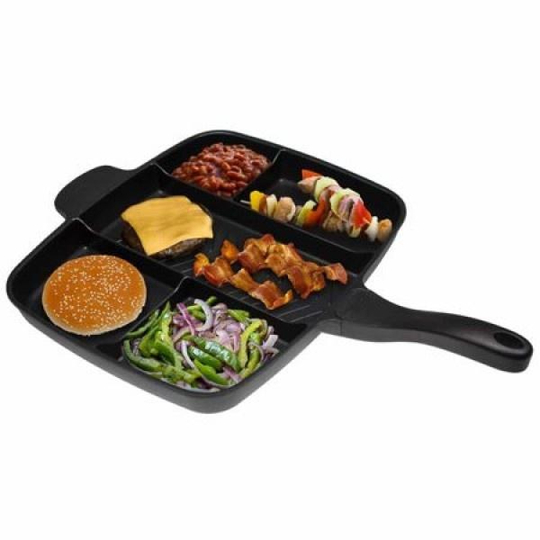 Tigaie grill multifunctionala - cu 5 compartimente pentru gatit