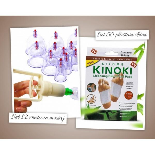 Set 12 ventuze masaj + 50 plasturi detoxifiere