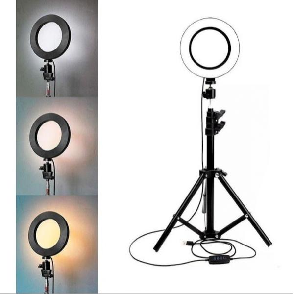 Lampa circulara cu trepied si suport selfie