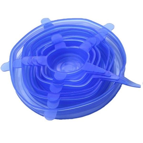 Set 6  capace elastice silicon pentru acoperirea oalelor și castroanelor