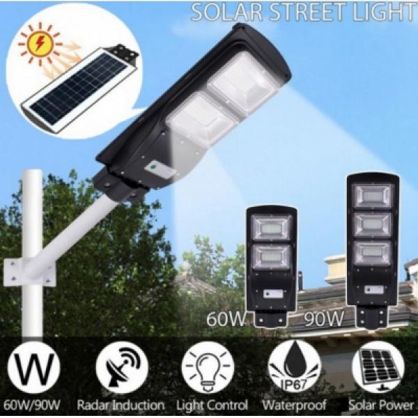 Lampa stradala pentru exterior cu incarcare solara si senzor de miscare 30/60/90/120 Watti - cu panou solar inclus
