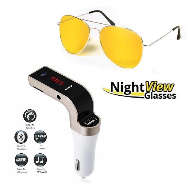 Ochelari pentru condus noaptea + Car kit auto Bluetooth modulator FM