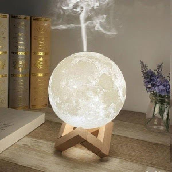 Lampa de veghe cu umidificator, Luna Moon 3D, 880 ml