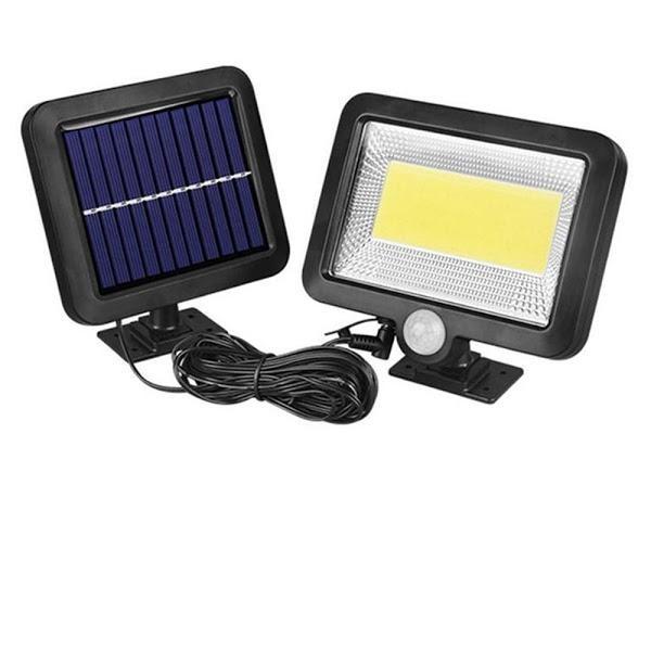 Lampa solara FL-1629B, senzor de miscare, rezistenta la apa, Negru