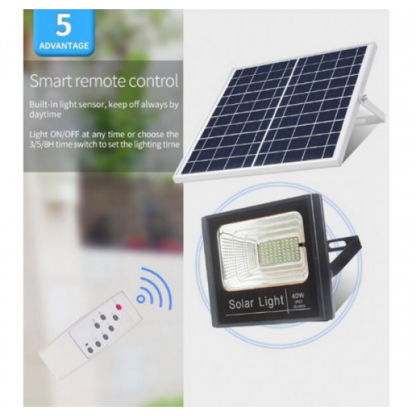 Proiector 25W, cu panou solar, telecomanda si functii multiple