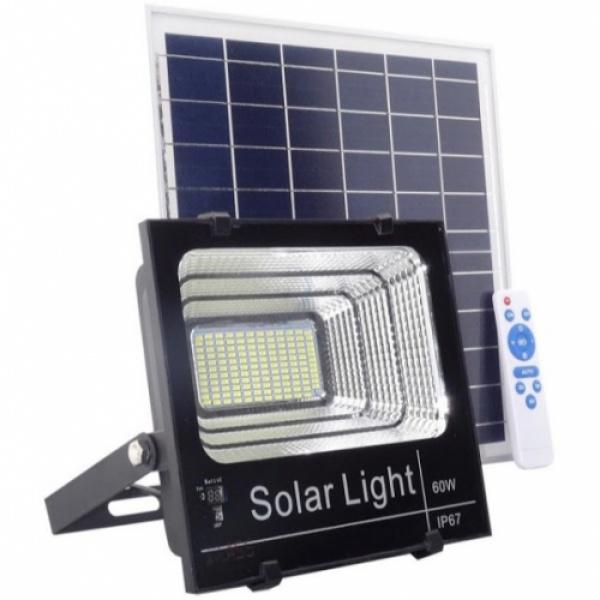 Proiector LED 60W IP 65 cu panou solar si telecomanda