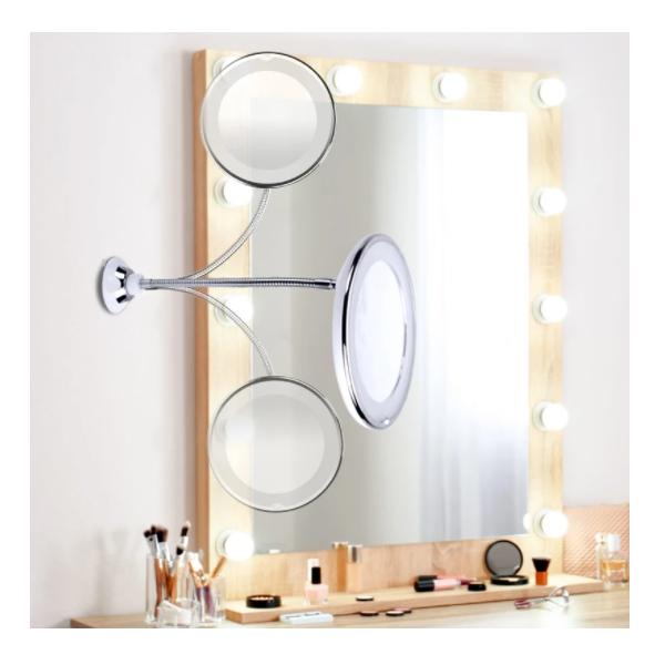 Oglinda cu brat flexibil si lumina LED
